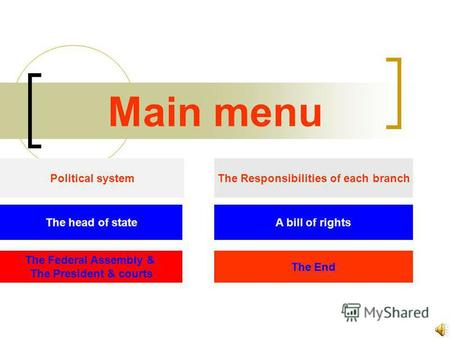 Main menu Political system The head of state The Federal Assembly & The President & courts The Responsibilities of each branch A bill of rights The End.