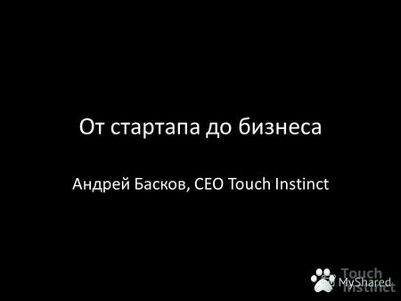 От стартапа до бизнеса Андрей Басков, CEO Touch Instinct.