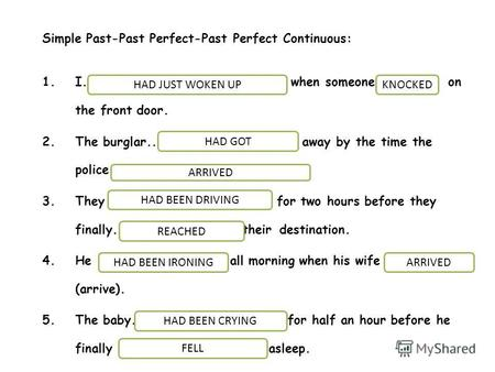 Simple Past-Past Perfect-Past Perfect Continuous: 1.I.....................(just/ wake up) when someone (knock) on the front door. 2.The burglar.......................(get)