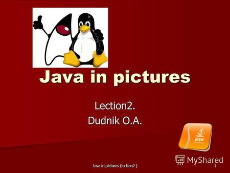 Java in pictures (lection2 ) 1 Java in pictures Lection2. Dudnik O.A.