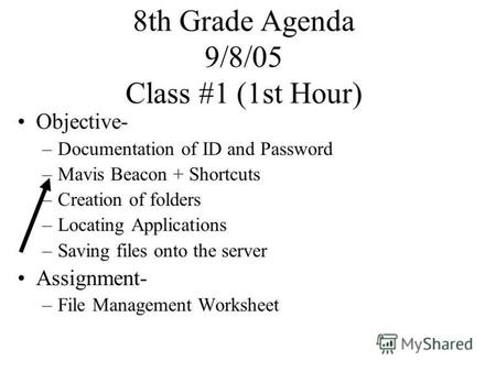 8th Grade Agenda 9/8/05 Class #1 (1st Hour) Objective- –Documentation of ID and Password –Mavis Beacon + Shortcuts –Creation of folders –Locating Applications.