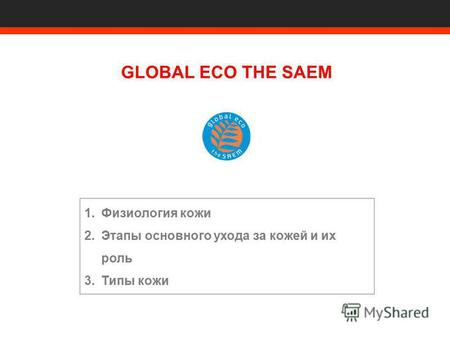 1.Физиология кожи 2.Этапы основного ухода за кожей и их роль 3.Типы кожи GLOBAL ECO THE SAEM.