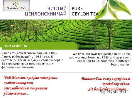 We have our own tea garden in Sri Lanka and working from last 1983 and at present exporting to 38 countries in different brand names. У нас есть собственный.