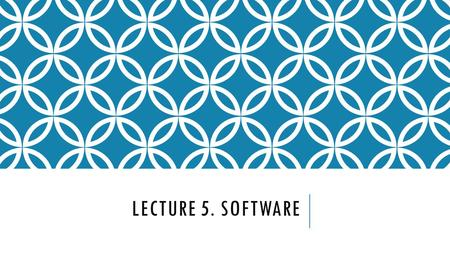 LECTURE 5. SOFTWARE. BIOS or Basic input/output system is the basic layer of software. It deals directly with the signals that control the components.