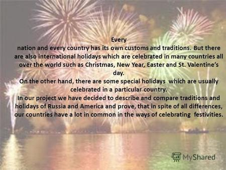 American and Russian Holidays