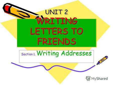 UNIT 2 WRITING LETTERS TO FRIENDS Section 1. Writing Addresses.