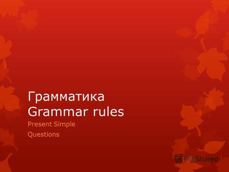 Грамматика Grammar rules Present Simple Questions.