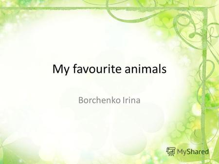 My favourite animals Borchenko Irina. My favorite animals are a cat, a dog and a horse.