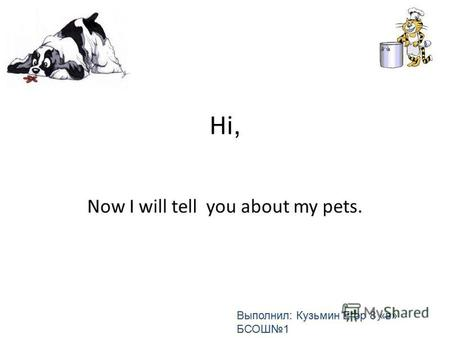 Hi, Now I will tell you about my pets. Выполнил: Кузьмин Егор 8 «в» БСОШ 1.