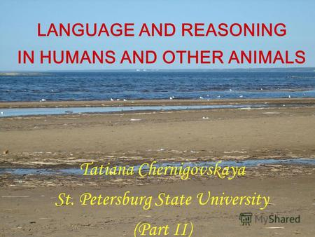 LANGUAGE AND REASONING IN HUMANS AND OTHER ANIMALS Tatiana Chernigovskaya St. Petersburg State University (Part II)
