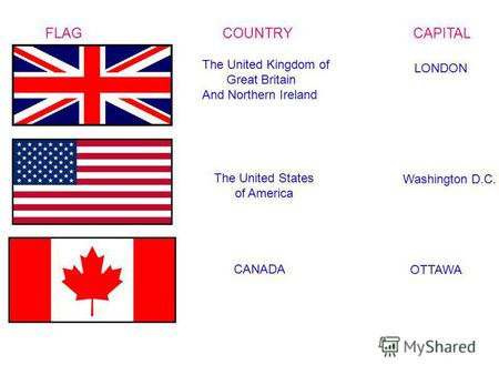FLAG COUNTRY CAPITAL The United Kingdom of Great Britain And Northern Ireland LONDON The United States of America Washington D.C. CANADA OTTAWA.