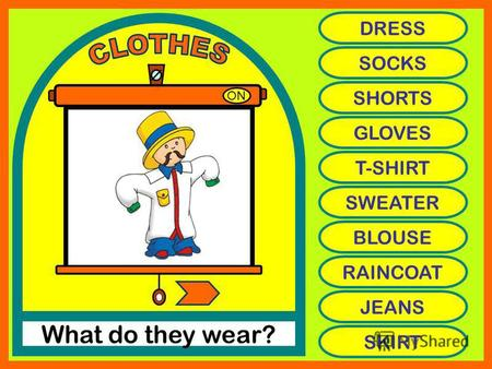 ON What do they wear? DRESS SOCKS SHORTS GLOVES T-SHIRT SWEATER BLOUSE RAINCOAT JEANS SKIRT.