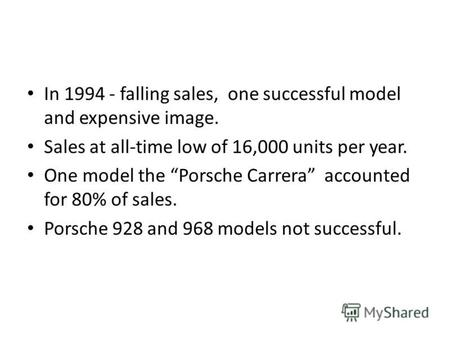 In 1994 - falling sales, one successful model and expensive image. Sales at all-time low of 16,000 units per year. One model the Porsche Carrera accounted.