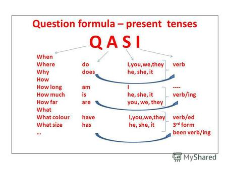 Question formula – present tenses Q A S I When WheredoI,you,we,theyverb Whydoeshe, she, it How How longamI---- How muchishe, she, itverb/ing How far areyou,