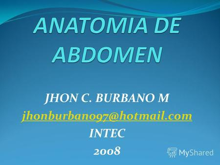 JHON C. BURBANO M jhonburbano97@hotmail.com INTEC 2008.