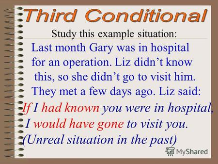 Study this example situation: Last month Gary was in hospital for an operation. Liz didnt know this, so she didnt go to visit him. They met a few days.