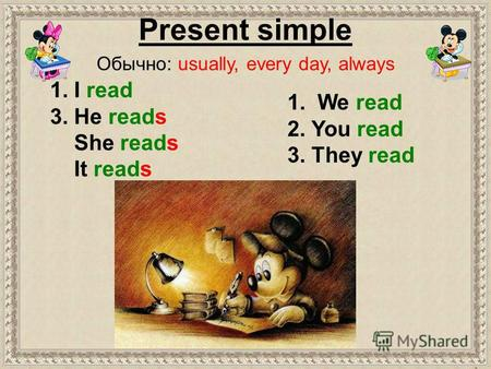 1. We read 2. You read 3. They read 1. I read 3. He reads She reads It reads Present simple Обычно: usually, every day, always.