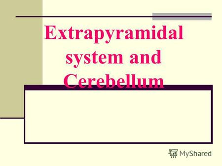Extrapyramidal system and Cerebellum. Extrapyramidal system consists of: cortical areas 4, 6, 8 the basal ganglia: n. caudatus, n.lenticularis (putamen,