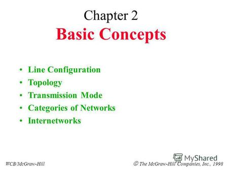 Chapter 2 Basic Concepts Line Configuration Topology Transmission Mode Categories of Networks Internetworks WCB/McGraw-Hill The McGraw-Hill Companies,