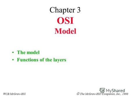 Chapter 3 OSI Model The model Functions of the layers WCB/McGraw-Hill The McGraw-Hill Companies, Inc., 1998.