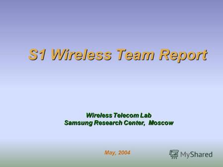 S1 Wireless Team Report Wireless Telecom Lab Samsung Research Center, Moscow May, 2004.