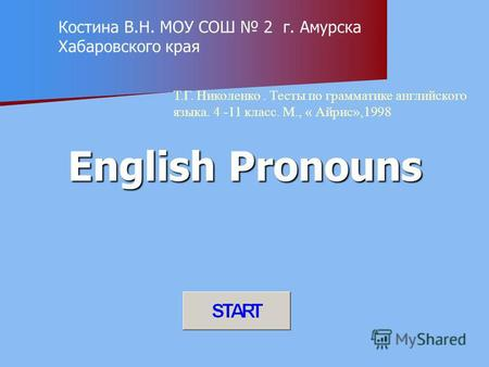 English Pronouns Костина В.Н. МОУ СОШ 2 г. Амурска Хабаровского края Т.Г. Николенко. Тесты по грамматике английского языка. 4 -11 класс. М., « Айрис»,1998.