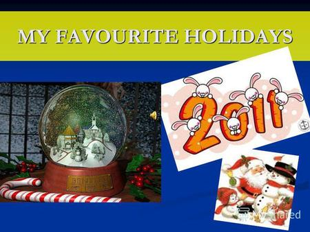 MY FAVOURITE HOLIDAYS. My favourites holidays are Christmas and New Year.
