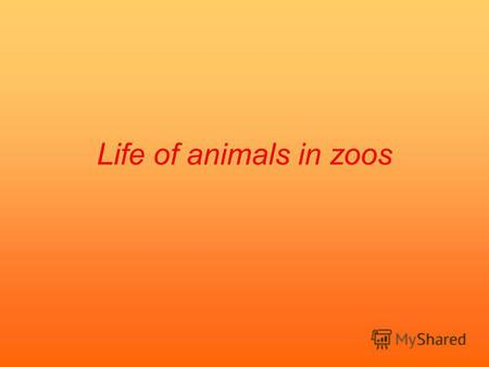 Life of animals in zoos. Made by: Vladimir Vorobjev 6«A» form Severnaja school 2 English teacher: V.M.Marchenko.