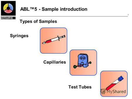 ABL5 - Sample introduction 1 Types of Samples Syringes Capillaries Test Tubes.