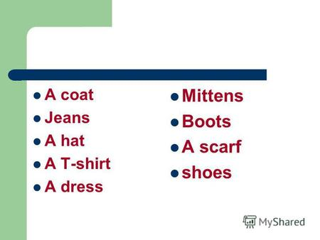 A coat Jeans A hat A T-shirt A dress Mittens Boots A scarf shoes.