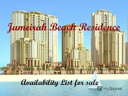 Jumeirah Beach Residence Availability List for sale.