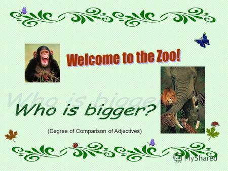 (Degree of Comparison of Adjectives). The World of animals is very rich. Do you know what is the biggest, the fastest, the tallest, animal in the world?