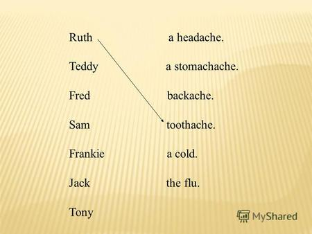 Ruth a headache. Teddy a stomachache. Fred backache. Sam toothache. Frankie a cold. Jack the flu. Tony.