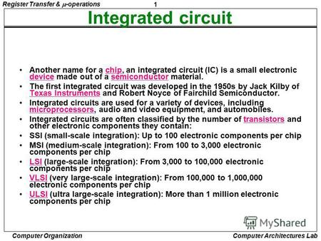 1 Register Transfer & -operations Computer Organization Computer Architectures Lab Integrated circuit Another name for a chip, an integrated circuit (IC)