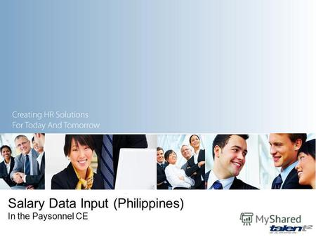 Salary Data Input (Philippines) In the Paysonnel CE.