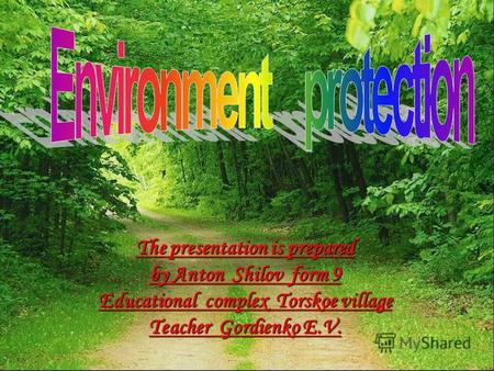 The presentation is prepared by Anton Shilov form 9 Educational complex Torskoe village Teacher Gordienko E.V.
