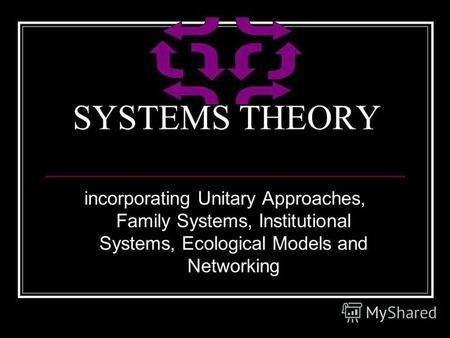 SYSTEMS THEORY incorporating Unitary Approaches, Family Systems, Institutional Systems, Ecological Models and Networking.