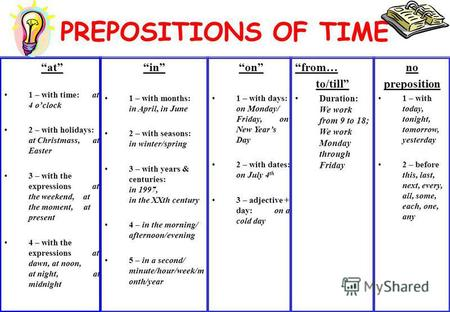 PREPOSITIONS OF TIME in 1 – with months: in April, in June 2 – with seasons: in winter/spring 3 – with years & centuries: in 1997, in the XXth century.