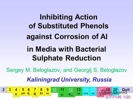Inhibiting Action of Substituted Phenols Sergey M. Beloglazov, and Georgij S. Beloglazov Kaliningrad University, Russia against Corrosion of Al in Media.