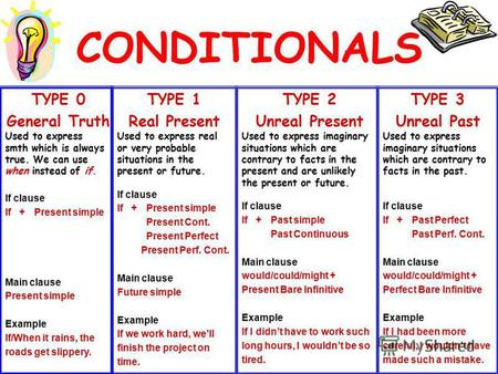 CONDITIONALS TYPE 1 Real Present Used to express real or very probable situations in the present or future. If clause If + Present simple Present Cont.