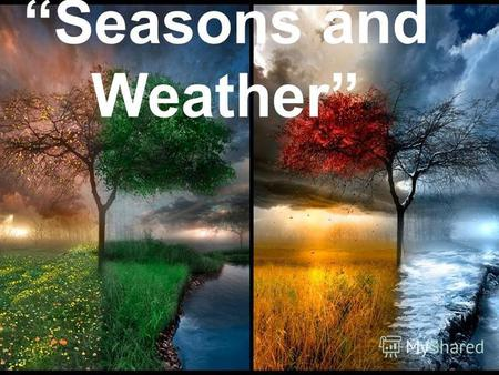 Seasons and Weather. Spring is green. Summer is bright. Autumn is yellow. Winter is white.