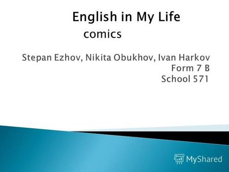 English in My Life comics. Hi, Shrek! Its a nice day, isnt it?