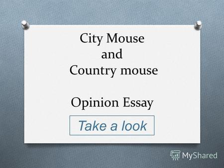 City Mouse and Country mouse Opinion Essay Take a look.