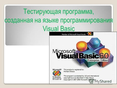 Тестирующая программа, созданная на языке программирования Visual Basic.