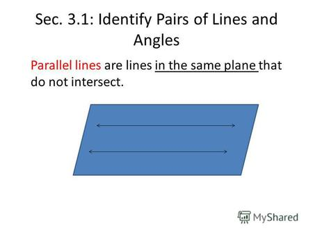 Sec. 3.1: Identify Pairs of Lines and Angles Parallel lines are lines in the same plane that do not intersect.