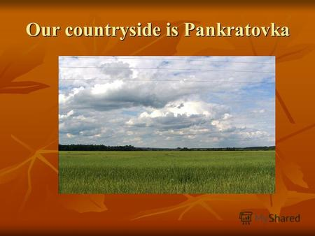 Our countryside is Pankratovka. Pankratovka is a place where we live. I want to tell you about our countryside. Inhabitants are proud of the native land.
