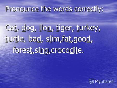 Pronounce the words correctly: Cat, dog, lion, tiger, turkey, turtle, bad, slim,fat,good, forest,sing,crocodile. forest,sing,crocodile.