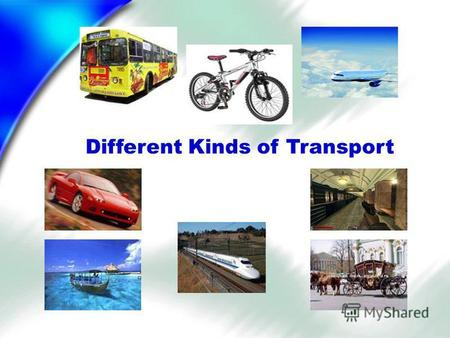 Different Kinds of Transport. Learn the poem! In the street you can see Buses, cars and a taxi. In the sky there is a plane, On the rails there is a train.
