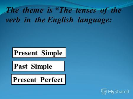 The theme is The tenses of the verb in the English language: Present Simple Past Simple Present Perfect.
