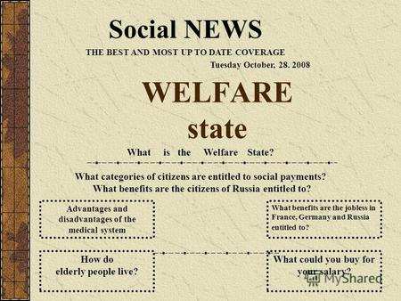 WELFARE state Social NEWS THE BEST AND MOST UP TO DATE COVERAGE Tuesday October, 28. 2008 What is the Welfare State? What categories of citizens are entitled.